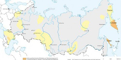 Karte: Russland: Geothermisches Potential