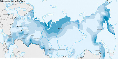 Karte: Russland: Windpotential