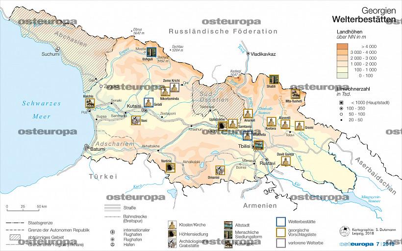 Georgien Karte Regionen.Zeitschrift Osteuropa Georgien