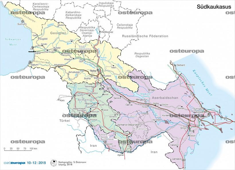 Georgien Karte Regionen.Zeitschrift Osteuropa Südkaukasus