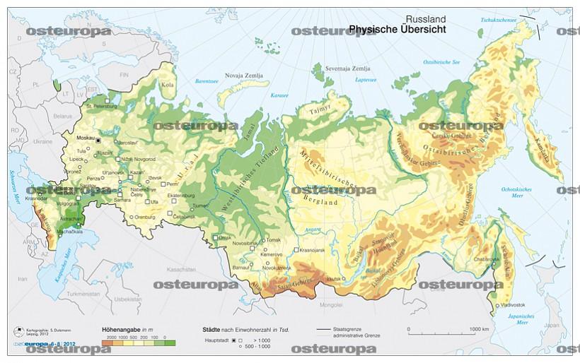 Karte Russland.Zeitschrift Osteuropa Russland