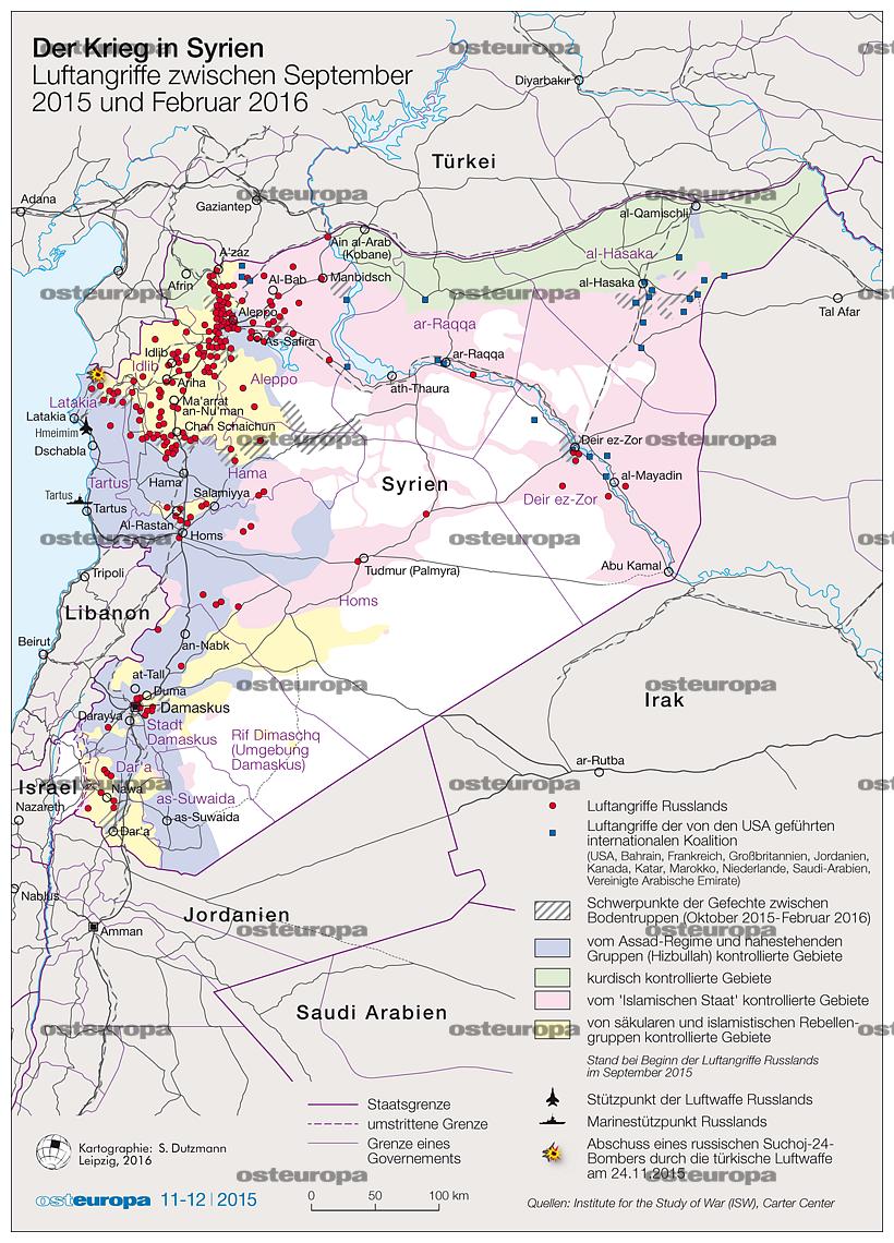 Syrien Karte 2016.Zeitschrift Osteuropa Der Krieg In Syrien Luftangriffe 9 2015 2