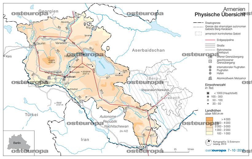 Armenien Karte.Zeitschrift Osteuropa Armenien