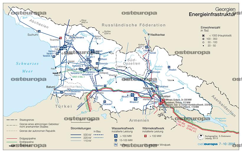 Georgien Karte.Zeitschrift Osteuropa Georgien