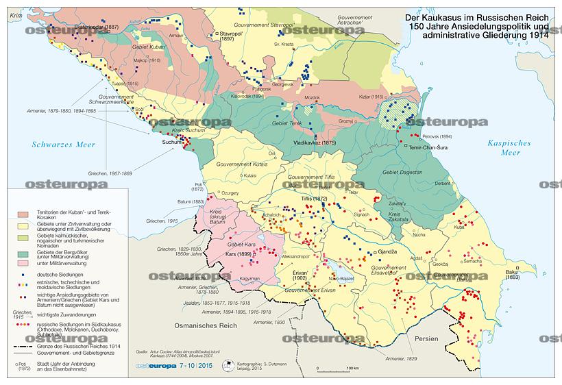 Osmanisches Reich Karte 1914.Zeitschrift Osteuropa Südkaukasus