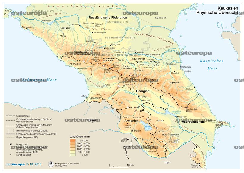 Georgien Karte Regionen.Zeitschrift Osteuropa Region Kaukasus